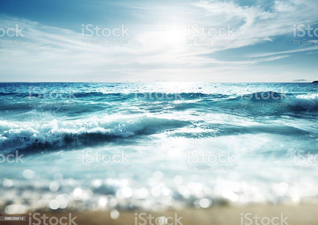 beach in sunset time, tilt shift effect stock photo