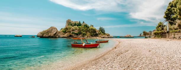 Beach in Taormina Sicily Italy at summer stock photo