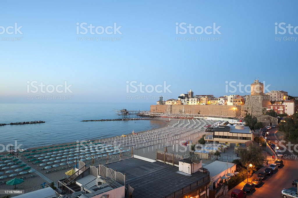 Beach in the evening at Termoli - Campobasso, Molise, Italy stock photo
