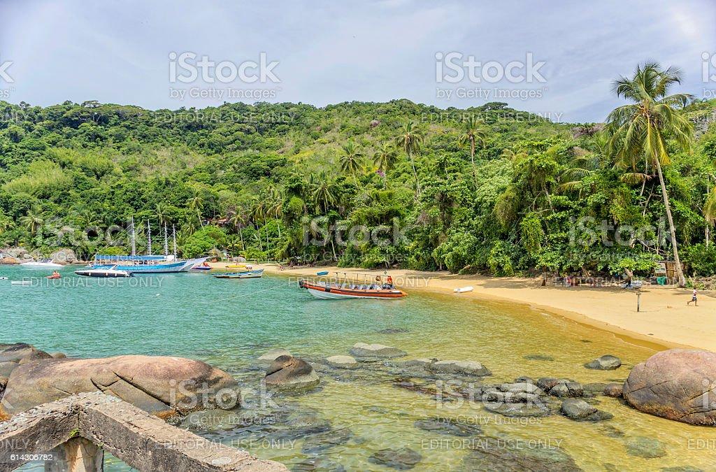 Beach in the Palmas bay stock photo