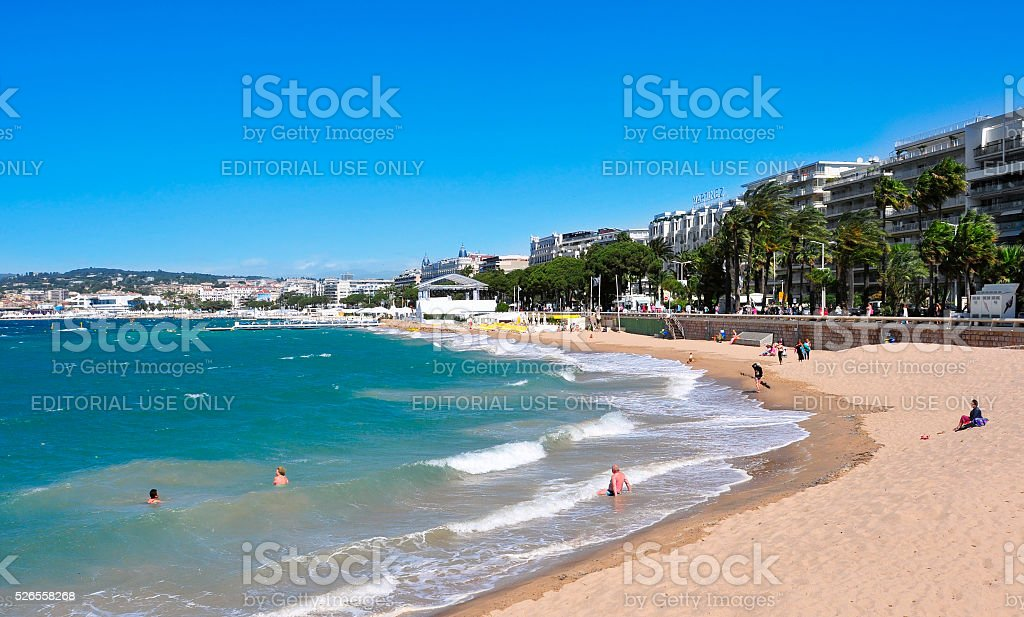 beach in the Promenade de la Croisette in Cannes, France stock photo