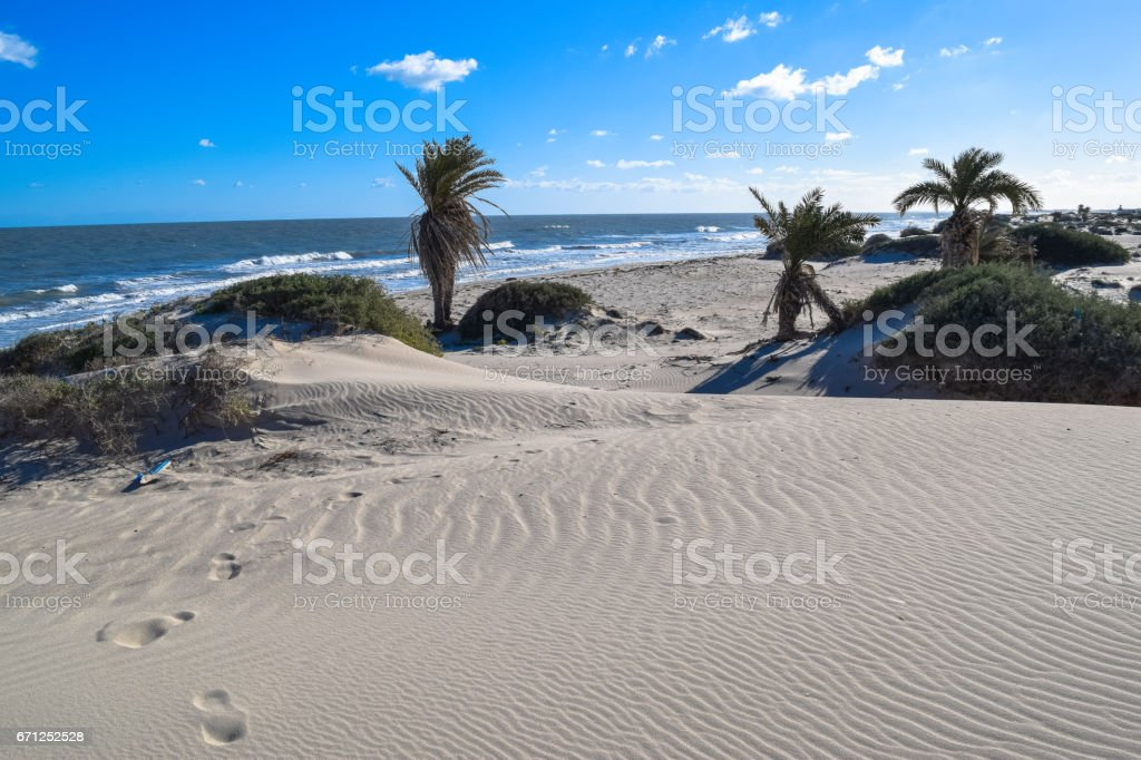 Beach in Tunisia. Mediterranean coast of North Africa stock photo