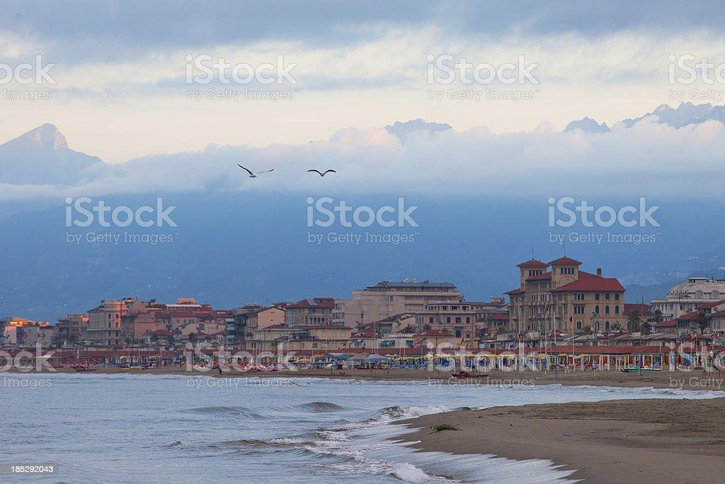Beach in Viareggio, Italy stock photo