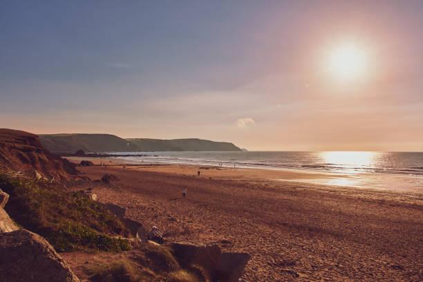 beach in Widemouth bay, Cornwall stock photo