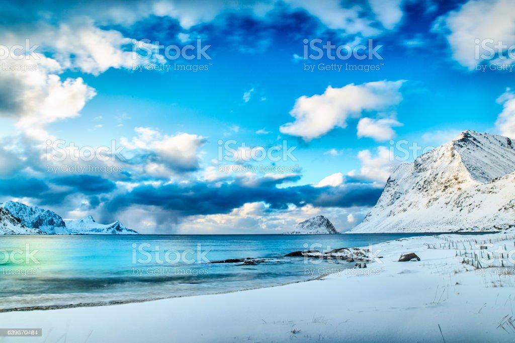 Beach in winter at the nordic atlantic ocean stock photo