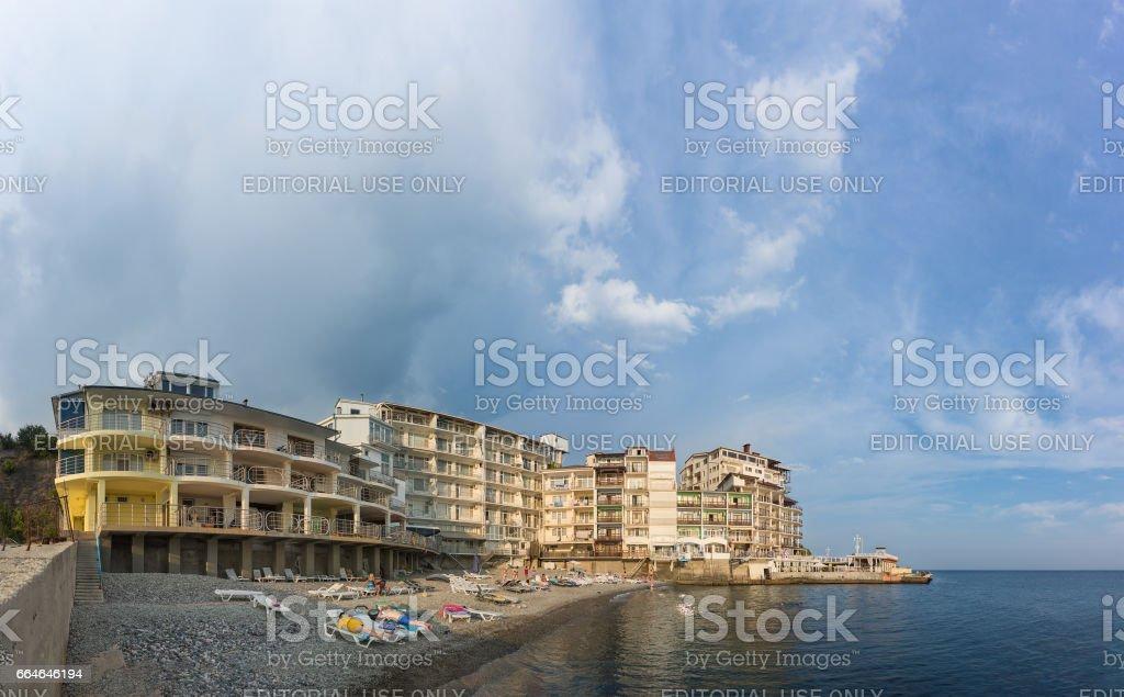 MASSANDRA, CRIMEA, RUSSIA - SEPTEMBER 14.2016 Beach in Yalta Yacht club stock photo