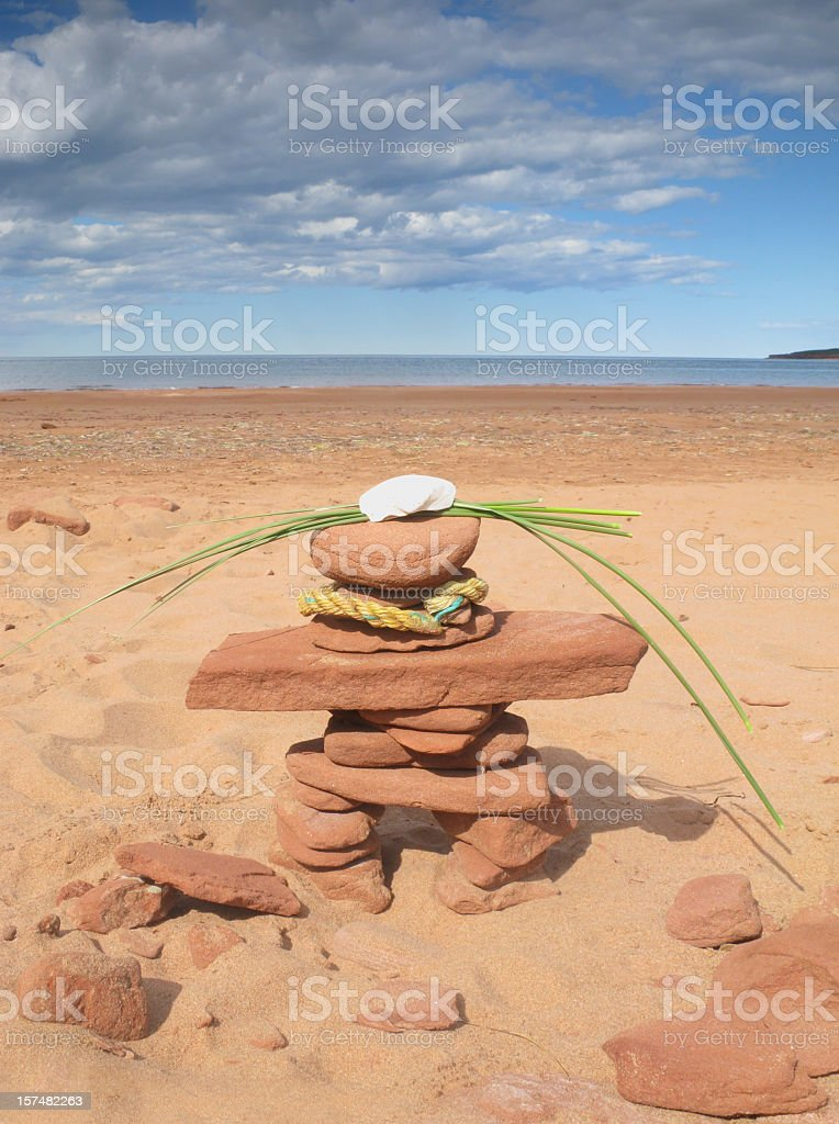 Beach inukshuk. royalty-free stock photo