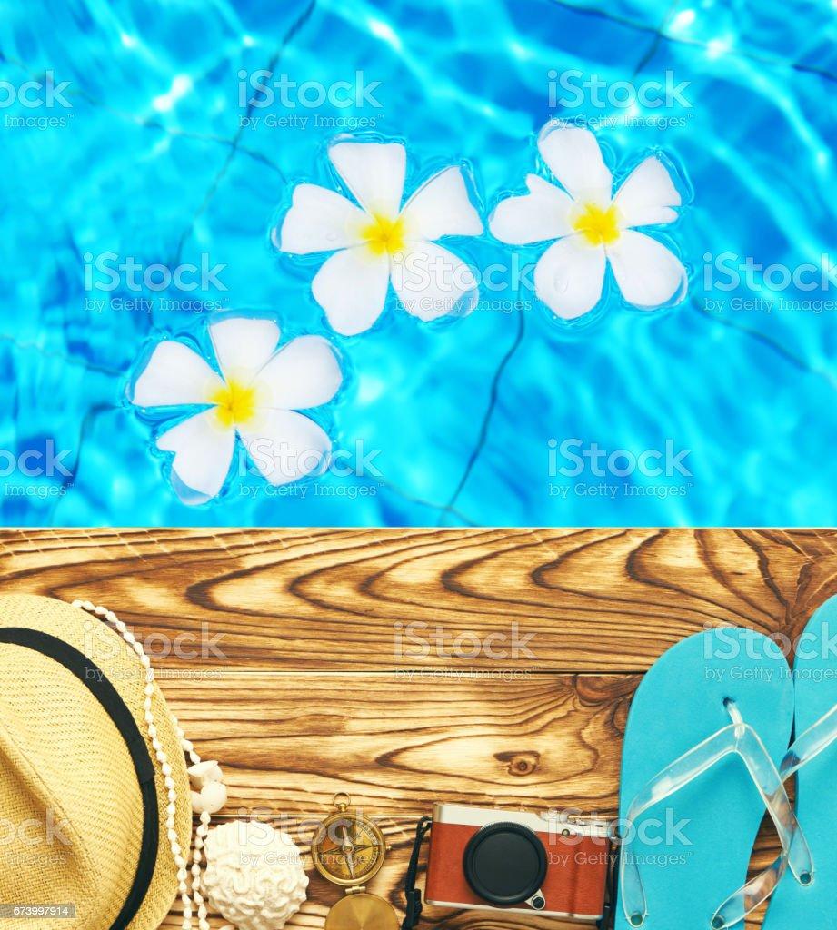 Beach items at pool royalty-free stock photo
