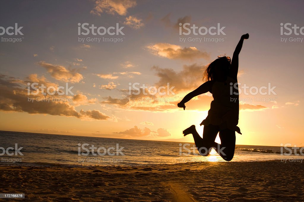 Beach Jump. royalty-free stock photo