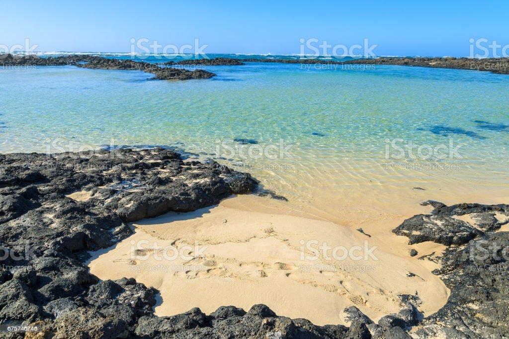 Beach lagoon in El Cotillo town, Fuerteventura, Canary Islands, Spain stock photo