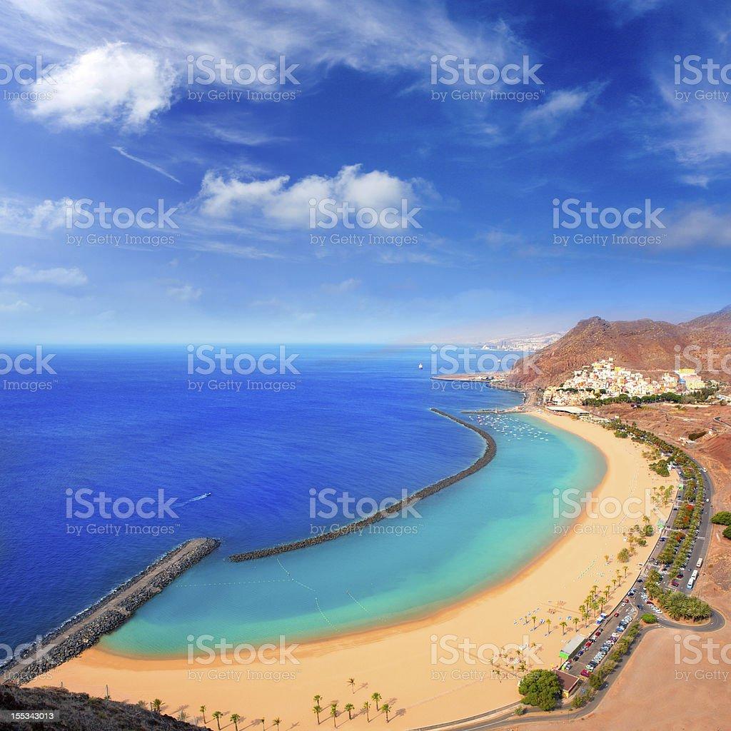 Beach Las Teresitas in Santa cruz de Tenerife north stock photo