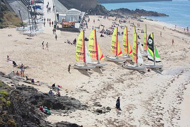 Beach life at Saint Malo stock photo