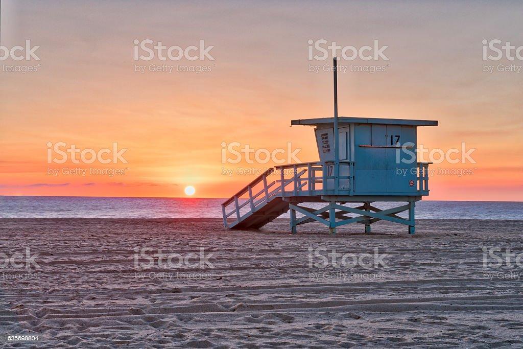 Beach Life Guard hut stock photo