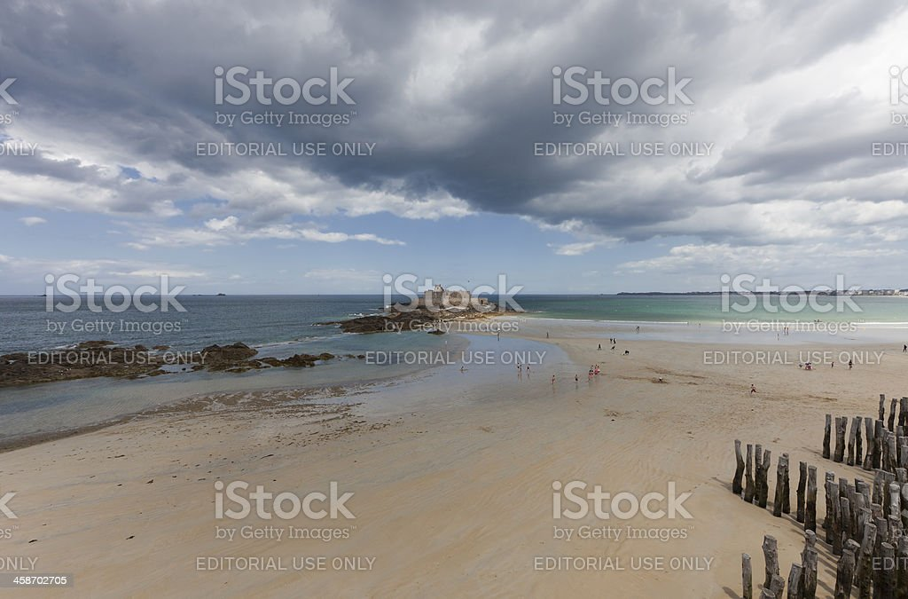 Beach life in Saint-Malo, France stock photo