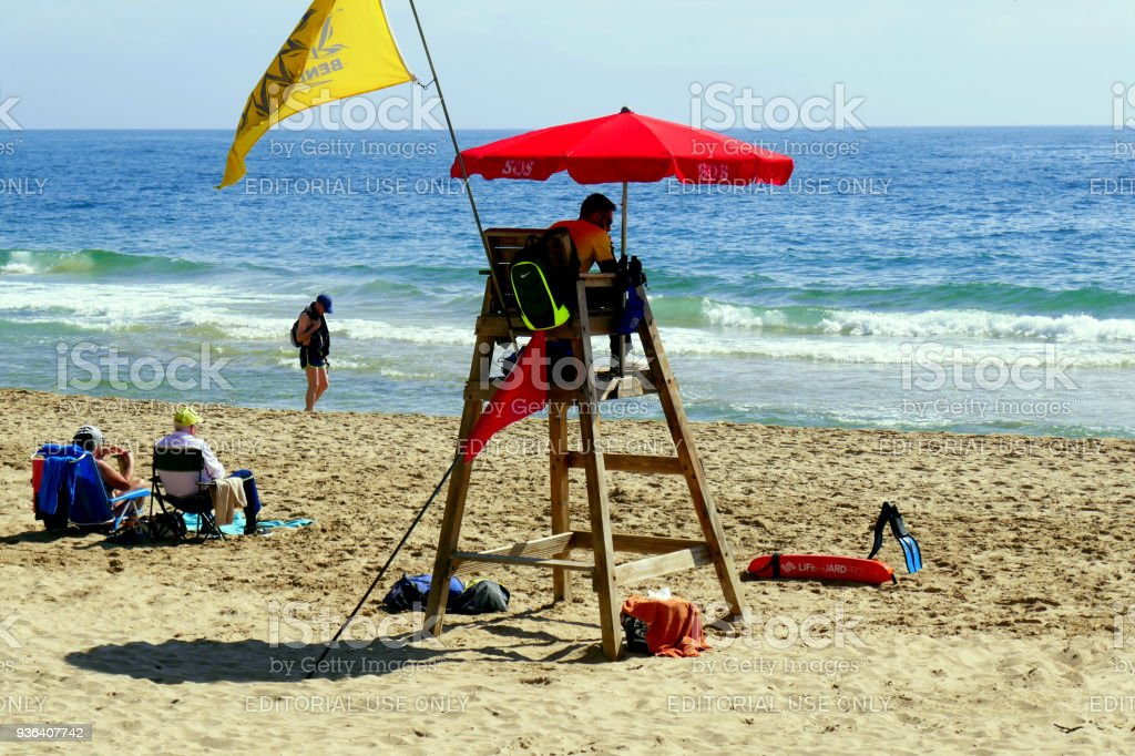 Beach lifeguard, Benidorm, Spain. stock photo