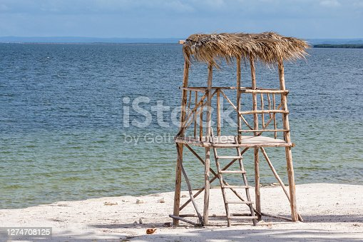 istock Beach lifeguard hut 1274708125