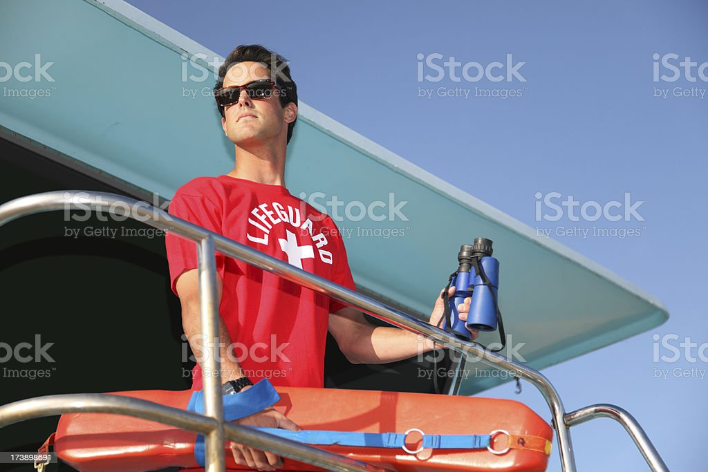 Beach Lifeguard On Tower stock photo