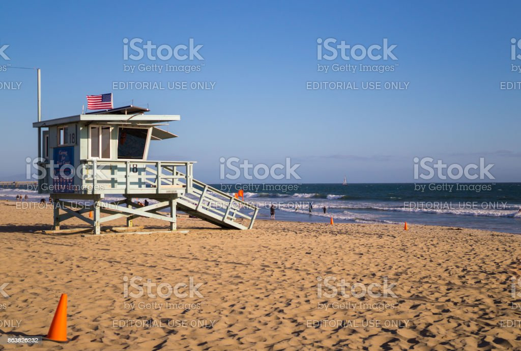 Beach lifeguards and the Pacific coast. Venice Beach, Los Angeles, CA stock photo