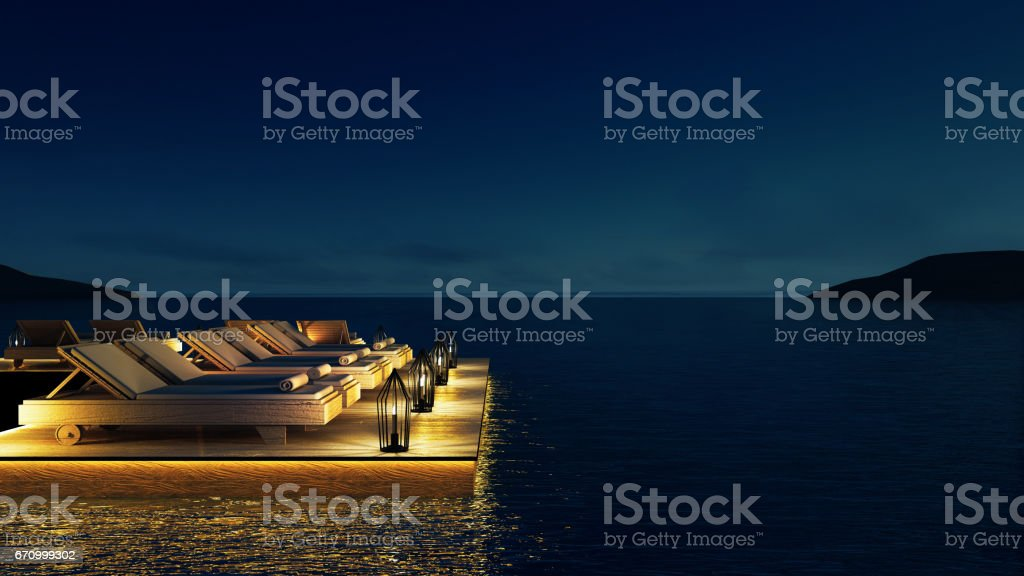 Beach living lounge & Party Lounge & Chill out Lounge  - Sundeck and Lagoon view / 3d rendering image stock photo