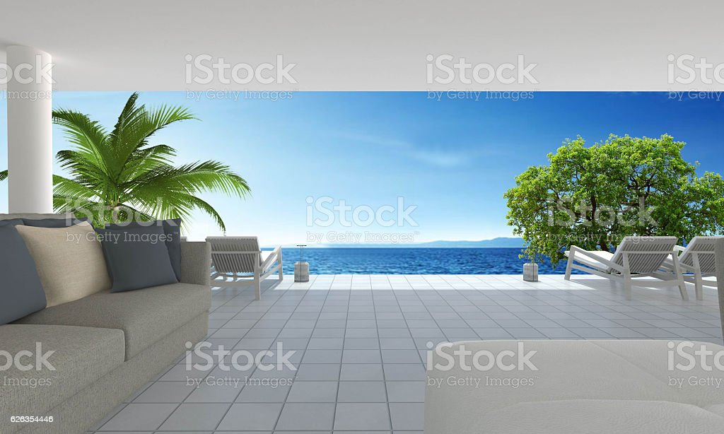 Beach living on Sea view and blue sky background-3d rendering stock photo