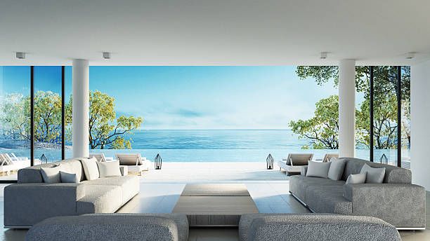 beach living on sea view - modern lifestyle stock photos and pictures