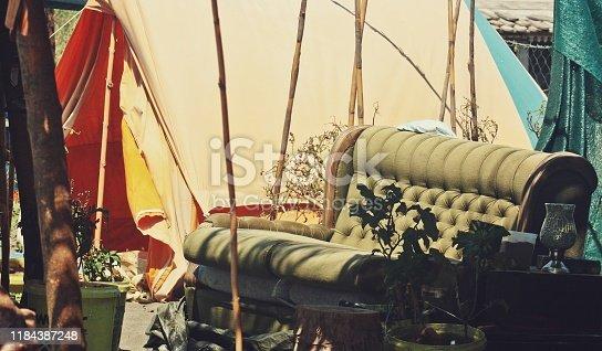 Retro Vintage beach living room by a tent on sand Ada Bojana Montenegro
