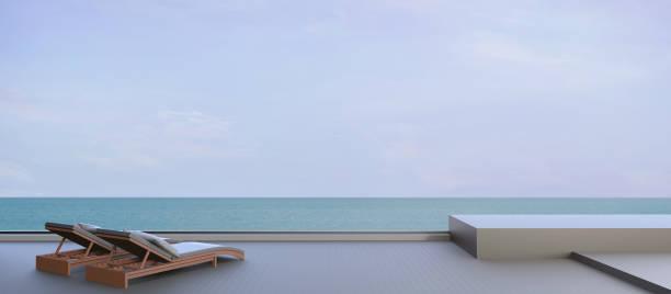 beach lounge und himmel auf schöne seelandschaft - schwimmbad nrw stock-fotos und bilder