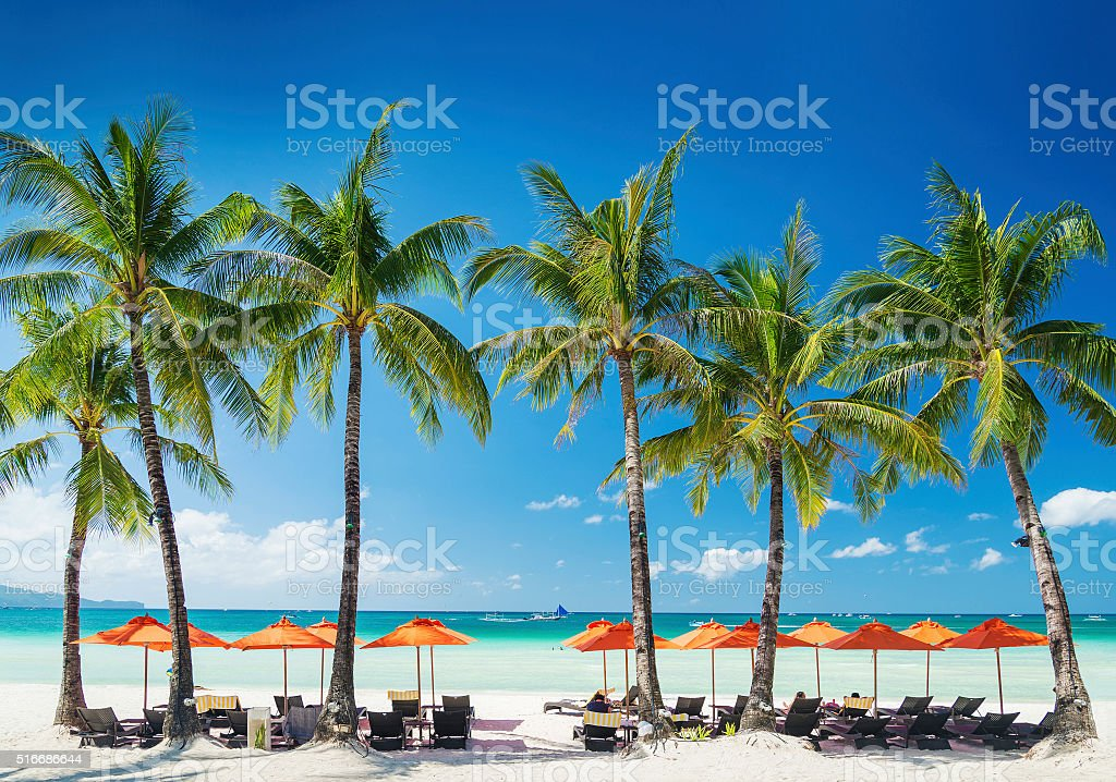 beach lounge bar on tropical exotic boracay island in philippines stock photo