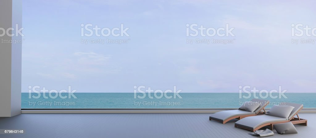 Beach lounge Minimal and Sundeck on seascape Clean sky beautiful stock photo