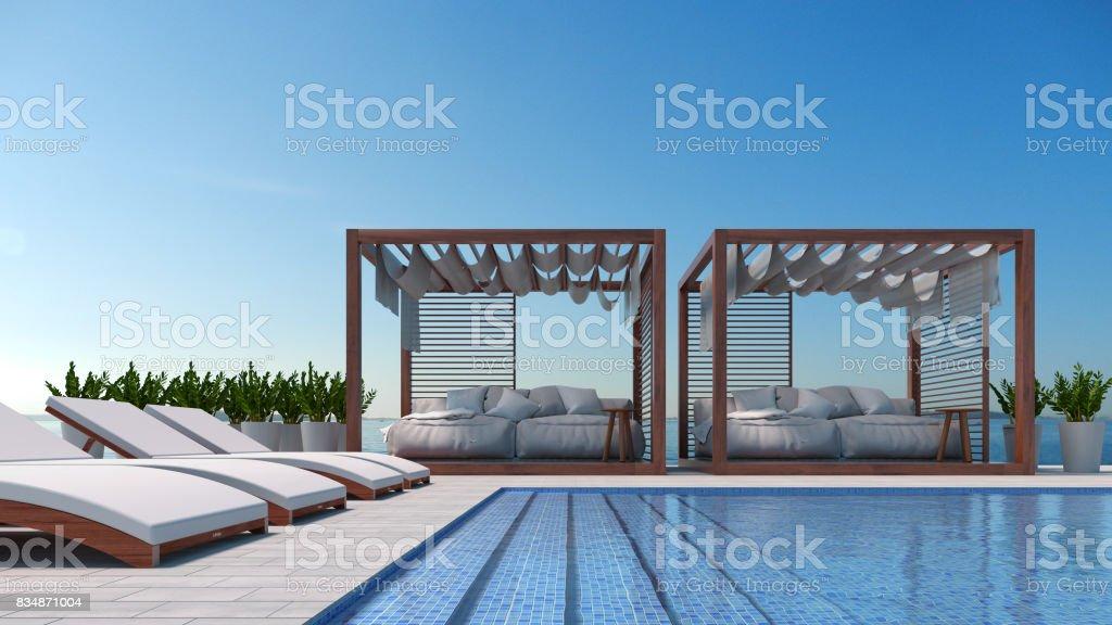 Salón De La Playa Terraza En Vista Al Mar Para Vacaciones Y