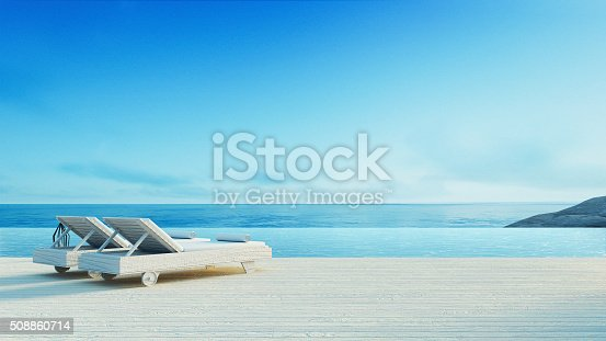 istock Beach lounge - Sundeck on Sea view 508860714
