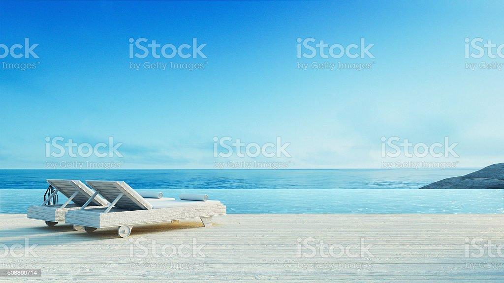 Beach lounge - Sundeck on Sea view stock photo