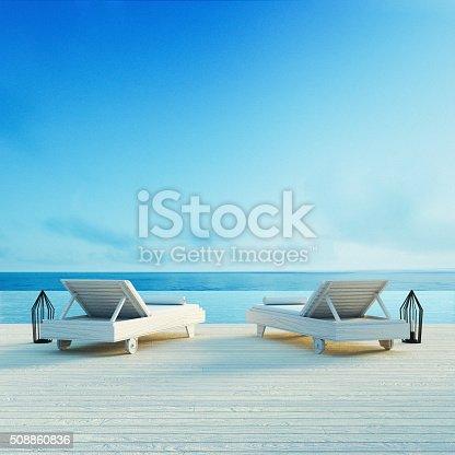 istock Beach lounge - Sundeck on Sea view 508860836