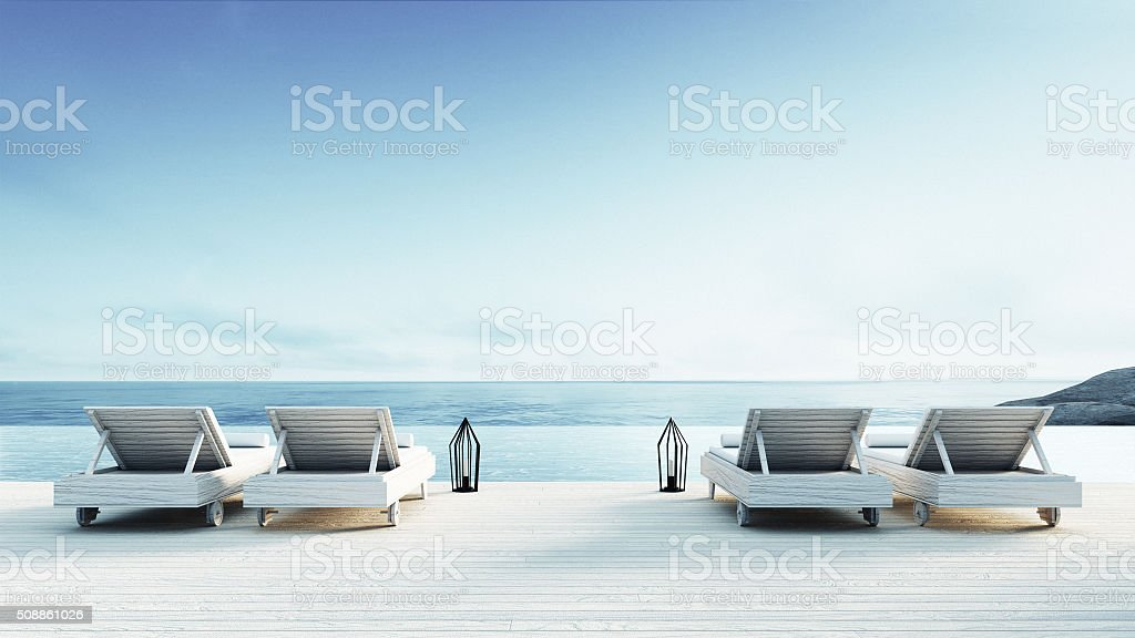Beach lounge - Sundeck on Sea view royalty-free stock photo