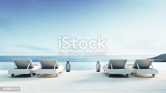 istock Beach lounge - Sundeck on Sea view 508861026