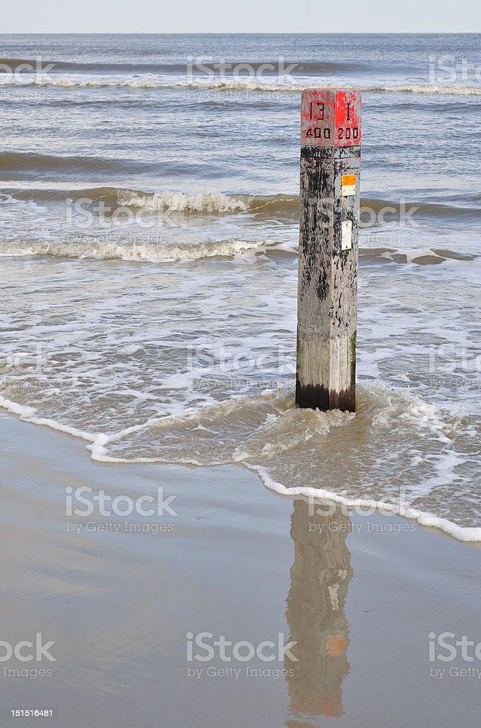 Beach marker 13 at Flood royalty-free stock photo