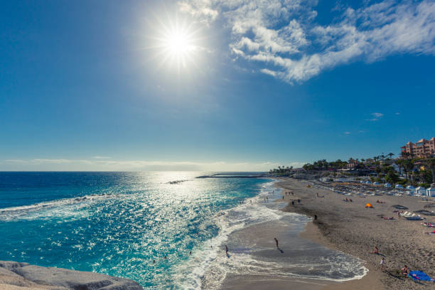 Beach near El Duque Castle (Playa El Duque), Tenerife, Spain. stock photo