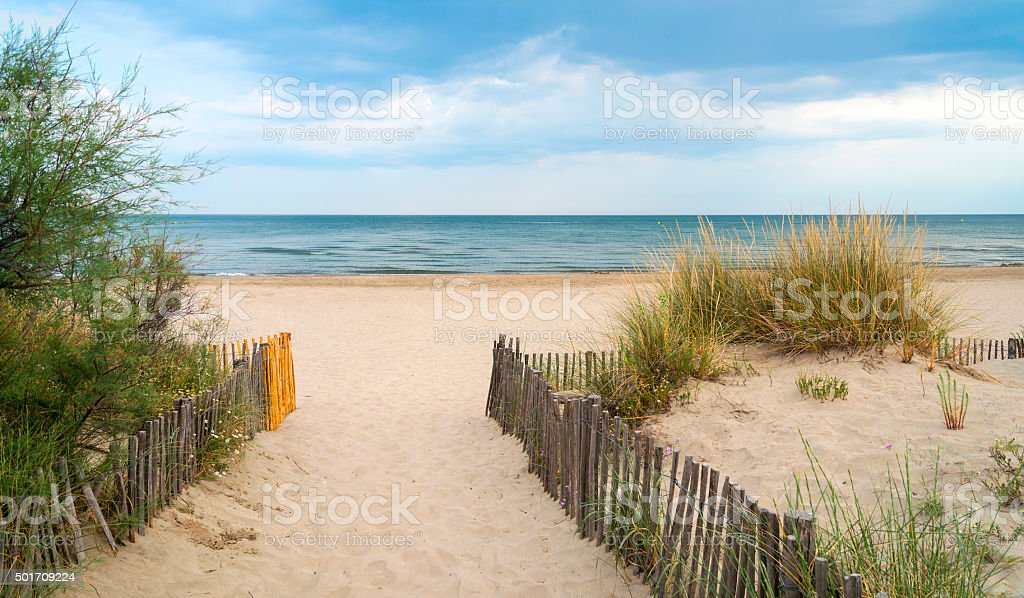 Beach near Montpellier (France) stock photo