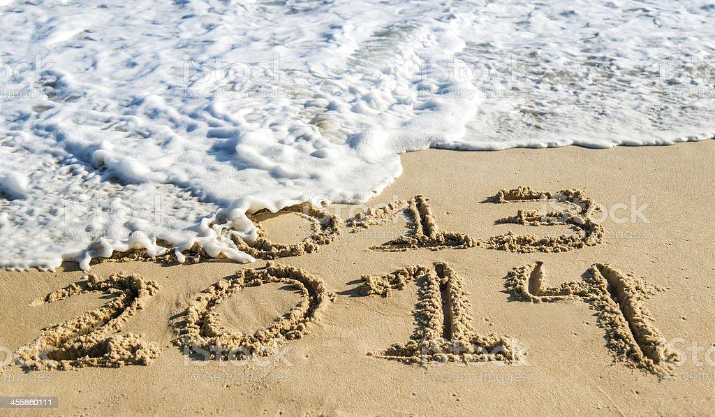 Beach New Year - 2014 royalty-free stock photo