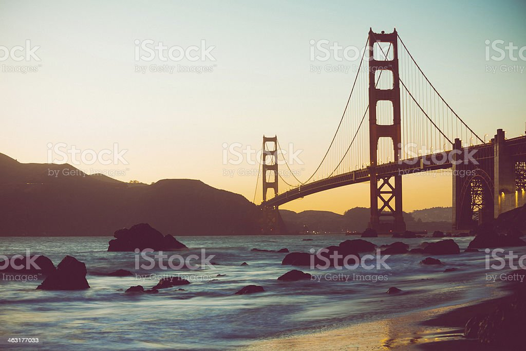 Beach, Ocean and Golden Gate Bridge at Sunset, San Francisco stock photo