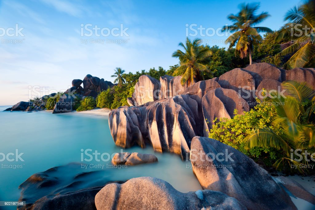 Beach of Anse Source d'Argent on La Digue island in Seychelles stock photo