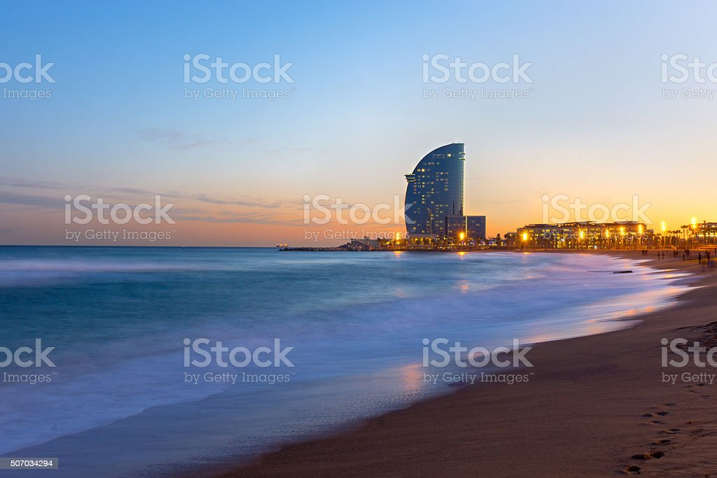 Beach of Barcelona at sunset stock photo