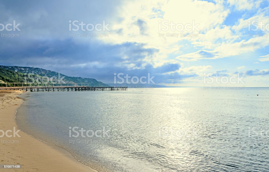 Beach of Black Sea from Albena, Bulgaria with golden sands, blue clear  water, sunrise stock photo