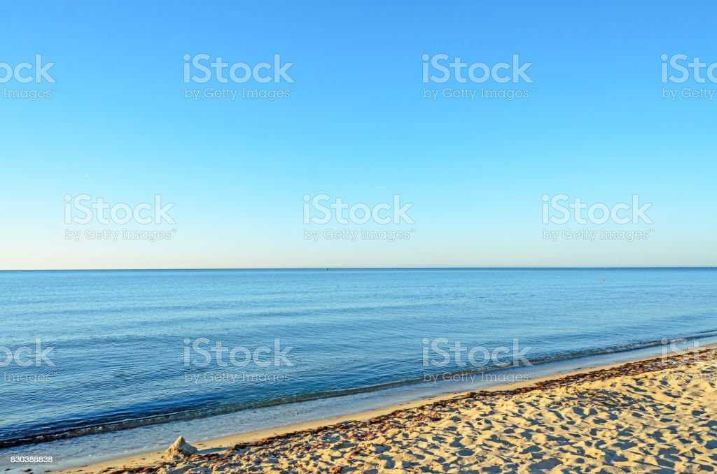Beach of Black Sea shore from Albena, Bulgaria with golden sands, blue clear  water stock photo