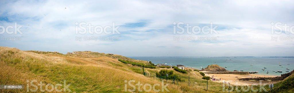 Beach of Czembre Island with Saint Malo stock photo