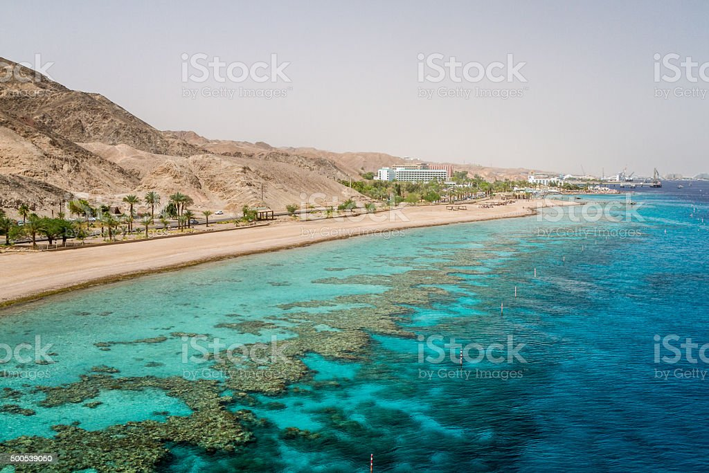 Beach of Eilat city, Red Sea, Israel stock photo