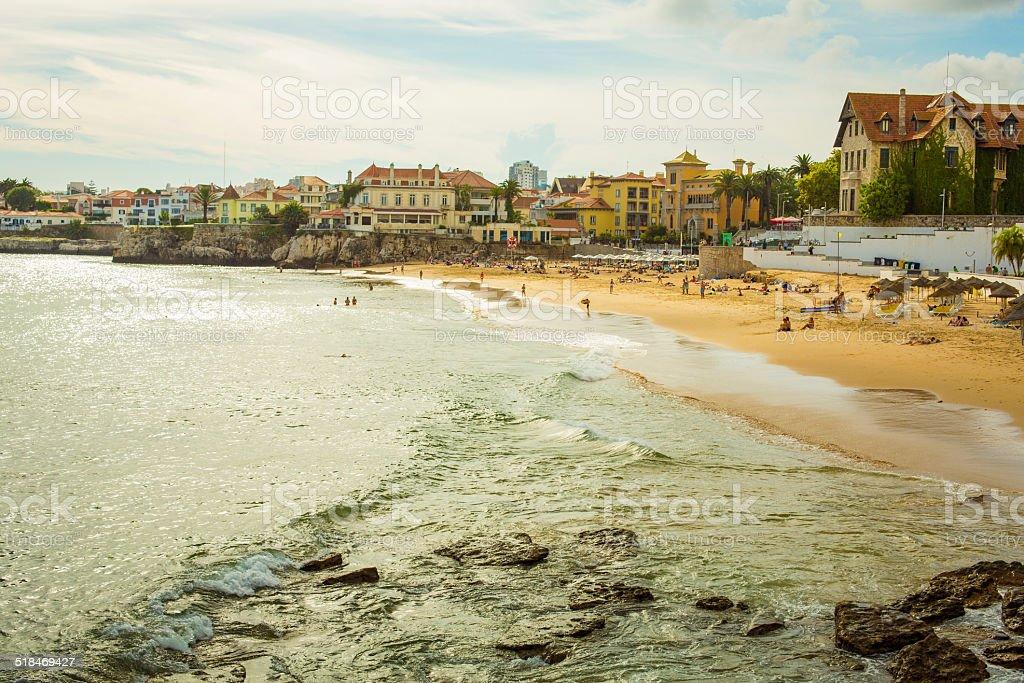 Beach of Estoril, Lisbon with a vintage look stock photo
