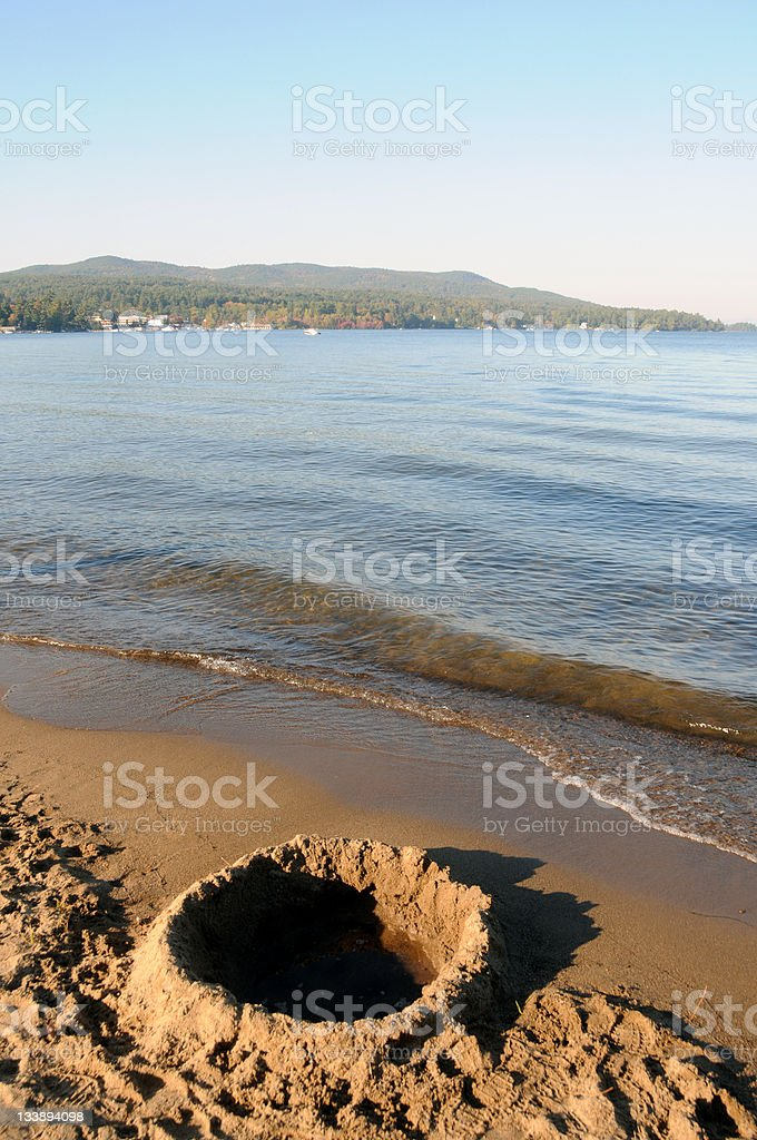 Beach of Lake George stock photo