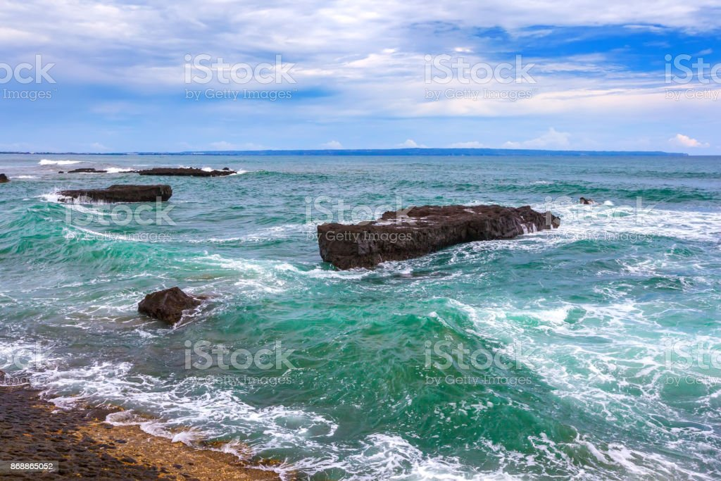 Beach of Mengwi, North Kuta, Bali, Indonesia. stock photo