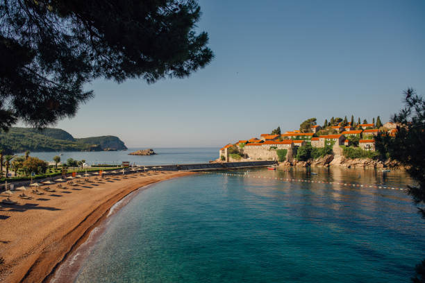 Beach of Montenegro on the Adriatic Sea shore stock photo